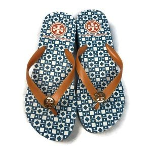 Tory Burch Blue and White Flip Flops Sandal Size 8